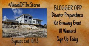 Blogger Opp: Disaster Preparedness Kit Giveaway