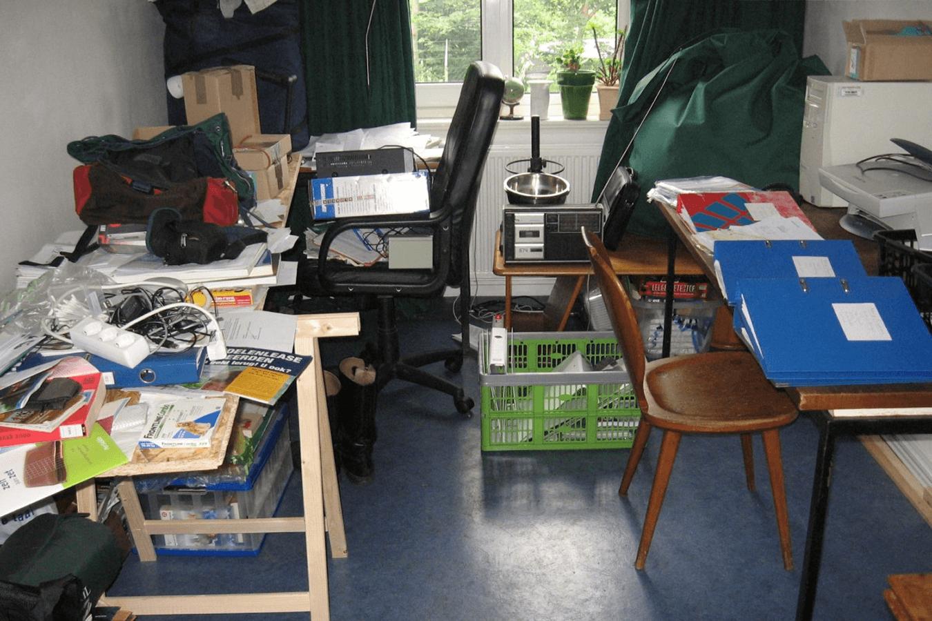 workshop, living room, clutter, chaos