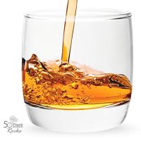 5 O'Clock Rocks 6.5-Ounce Scotch and Whiskey Glasses with FREE Mixologist Recipe Book (Set of 2)