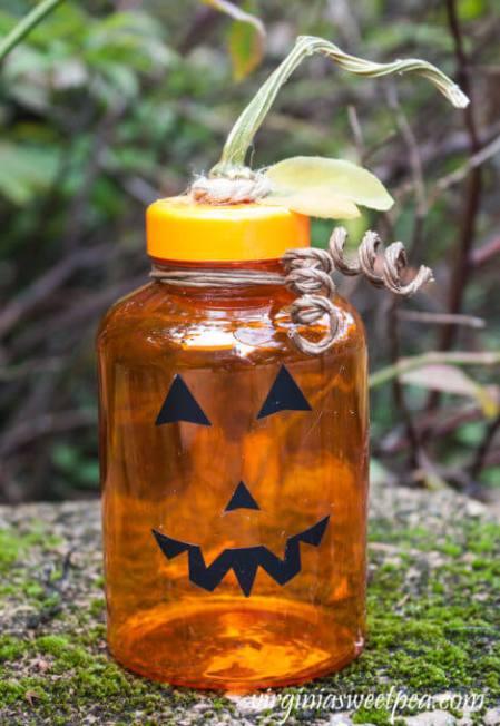 Week 250 Upcycled Medicine Bottle Jack O Lantern from Virginia Sweet Pea